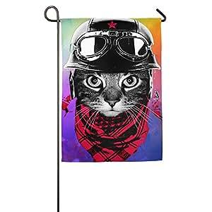 Pilot gato casa bandera de banderas, banderas, banderas al aire libre decorativa, Patio, Casa bandera, blanco, 12*18inch