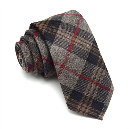 Men's Plaid Wool Skinny Neck Tie, Cashmere Casual Business Necktie 6CM/2.4In (Red Plaid) Cashmere Wool Tie