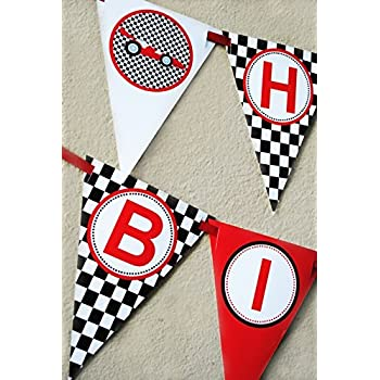 Amazon Com Race Car Birthday Banner Pennant Toys Amp Games