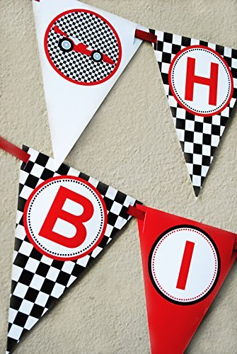 Race Car Birthday Banner Pennant -