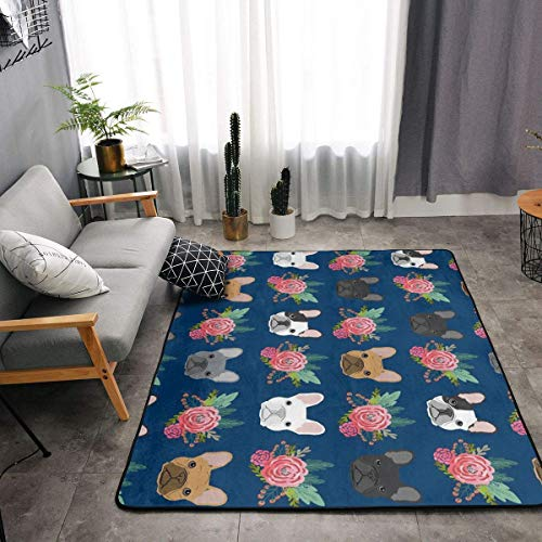 YOUNG H0ME French Bulldog Flowers Kitchen Rug Memory Foam Doormat Floor Mat with Non-Slip Rubber Backing, Fast Dry Toilet Bath Rug Shaggy Rugs Home Decor Comfort Standing Mat