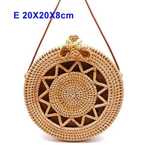Kong Natural Straw - Zozu 2019 Round Straw Bags Women Summer Rattan Bag Handmade Woven Beach Cross Body Bag Circle Bohemia Handbag Bali Lowest price L31 (E lou kong wu jiao)