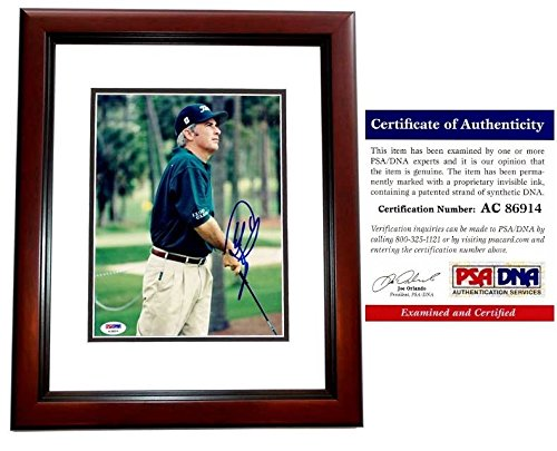 - Curtis Strange Autographed Golf 8x10 Photo Mahogany Custom Frame - PSA/DNA Authentic