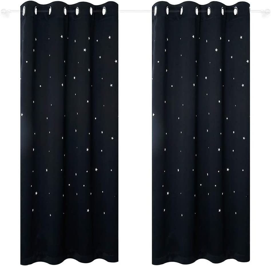 Anjee Punched Out Star Curtains for Kids Room, 2 Panels Starry Sky Blackout Curtains Window Treatments for Nursery and Bedroom, W52 x L84 Inches, Black