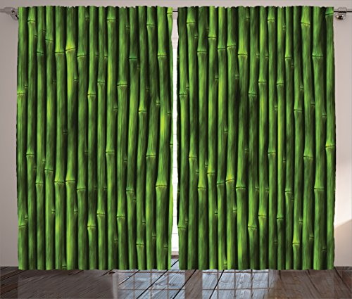 Bamboo Decor Curtains by Ambesonne, Bamboo Stems Pattern Tropical Nature Inspired Background Print Asian Wildlife Zen, Window Drapes 2 Panel Set for Living Room Bedroom, 108 W X 84 L Inches, Green (Rooms Living Inspired Tropical)