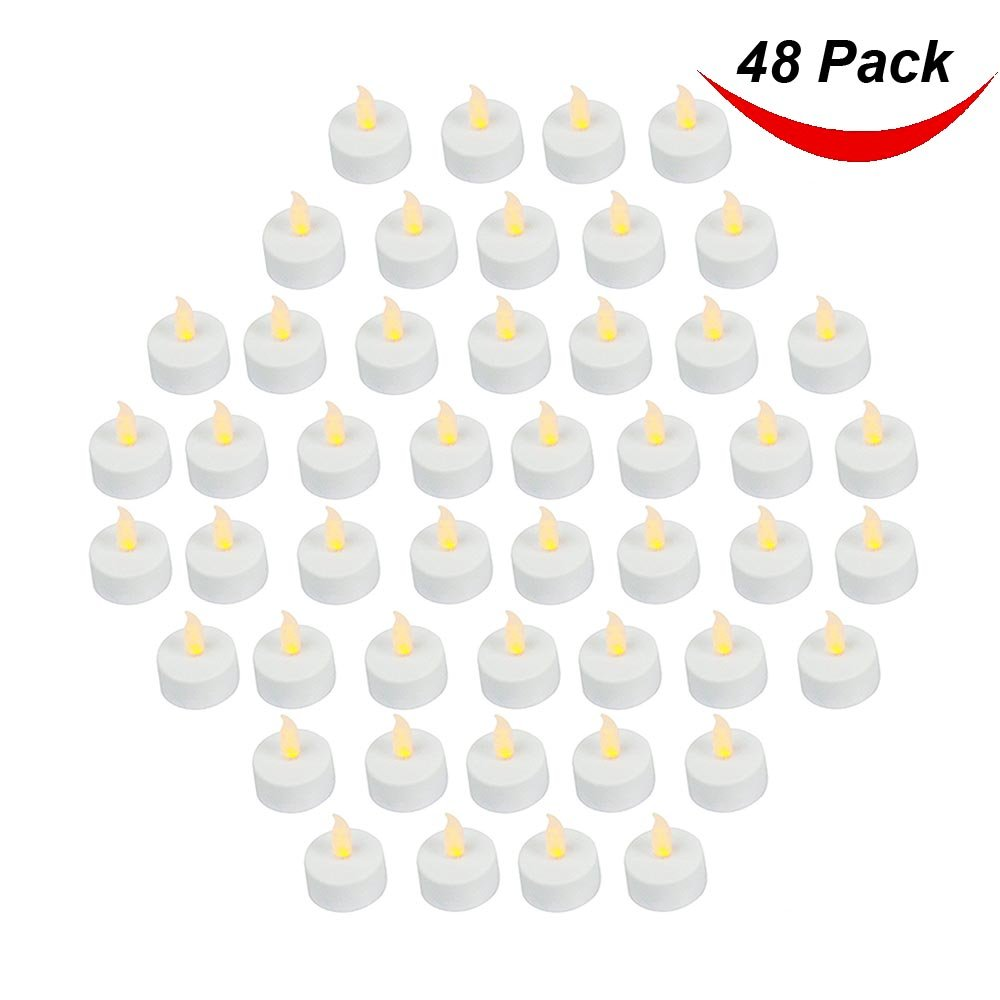 Bargain Outlet (Pack of 48) Realistic and Bright Battery Operated Flickering Flameless Tea Light Led Candles, Batteries Included - Yellow 1
