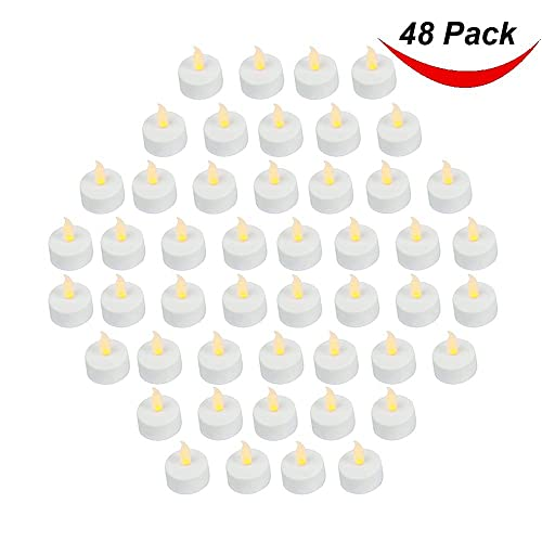 Pack of 48 Realistic and Bright Battery Operated Flickering Flameless Tea Light Led Candles, 3.5cmx4.2cm Tall, Electric Fake Candle with Batteries Included - Yellow - Bargain Outlet