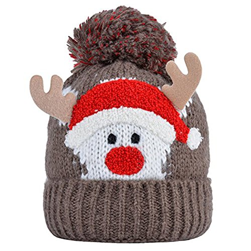 Price comparison product image BELIFECOS Kids Reindeer Knitting Hair Ball Hat Winter Pom Pom Beanie Skull Cap(Brown)