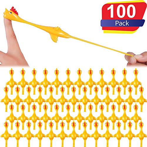 Sumind Slingshot Chicken Flick Chicken Flying Chicken Flingers Stretchy Funny Rubber Chickens Party Activity for Children (100 Pack Yellow) (Best Chickens For Children)