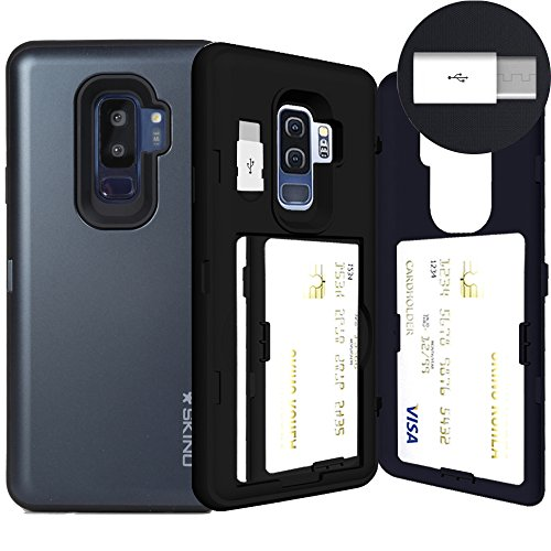 Galaxy S9 Plus, SKINU S9 Plus Wallet Charger Dual Layer Hidden Credit [S9 Plus Card Case] Holder ID Slot Card Case with Inner USB type C Adapter and Mirror for Samsung Galaxy S9 Plus - Metal Slate