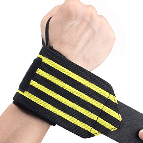 FJZ Wrist Wraps(pair) for Weightlifting with Thumb Loop, Protect Wrist from Sprains and Fixed Lifting Protection, Wrist Support Braces for Men & Women- Weight lifting, Cross Training, (Fixed Wrap)