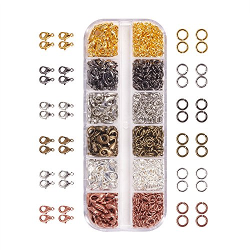 - PandaHall Elite About 960 Pcs Jewelry Findings Kit with Brass Open Jump Rings and Lobster Claw Clasps 6 Colors for Jewelry Making