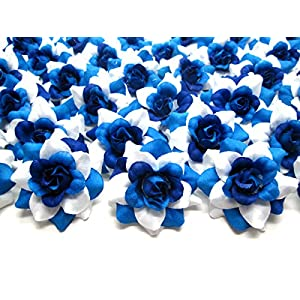 """(24) Silk Two-tone Blue Roses Flower Head - 1.75"""" - Artificial Flowers Heads Fabric Floral Supplies Wholesale Lot for Wedding Flowers Accessories Make Bridal Hair Clips Headbands Dress 3"""