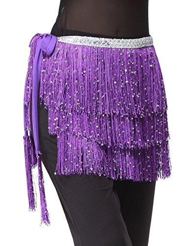 - Yeeco Women Belly Dance Hip Wrap Latin Ballroon Dancing Skirt Clothing with Three Layers Tassels (Purple)