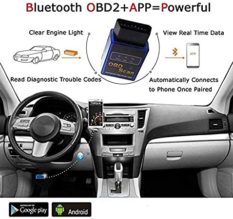 ELM327 OBD2 OBDII Car Diagnostic Bluetooth Scanner Torque Auto Scan for Android