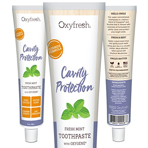 Oxyfresh Fluoride Mint Toothpaste – Low Abrasion, Cavity Fighting Formula – Dye-Free and Infused with Natural Essential Oil – Dentist Recommended, 5oz