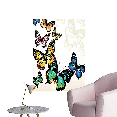 (Wall Stickers for Living Room Colorful Arch Butterfli Shad Ombre Background Blue Green Yellow Vinyl Wall Stickers Print,12