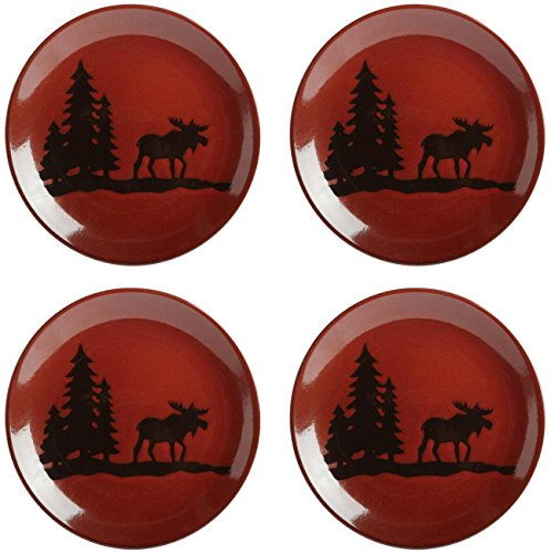 Nature's Home Moose Lodge Red Reactive Glaze Round Salad Plate, 8.5-Inch, Stoneware, Red (4) - Bear Stoneware