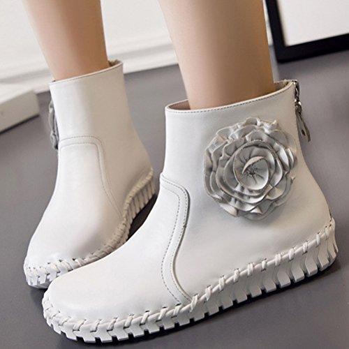 60176c746948fa MatchLife Damen Vintage Frühling Sommer Leder Flach Ankle Boots Style2 Weiß