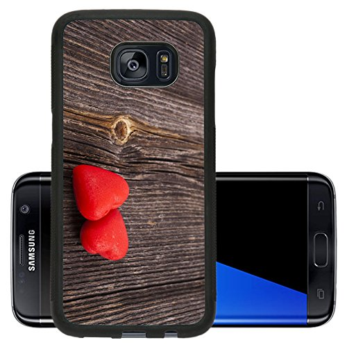 Luxlady Premium Samsung Galaxy S7 Edge Aluminum Backplate Bumper Snap Case IMAGE ID: 23200165 Two Red Heart Candies on crack break wood texture background valentines day card concept