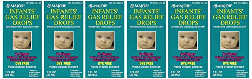 Newborns, Infants & Children Gas Relief Simethicone 20 mg/0.3ml Drops Dye Free Generic for Mylicon 1 oz (30ML) 6 PACK Total 6 oz