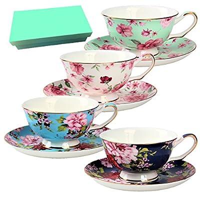 BTaT- Tea Cups, Tea Cups and Saucers Set of 4, Tea Set, Floral Tea Cups (8oz), Tea Cups and Saucers Set, Tea Set, Porcelain Tea Cups, Tea Cups for Tea Party, Rose Teacups, China Tea Cups (Bone China)