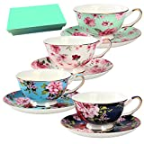 Tea Cup and Saucer Set of 4 with Gift Box ,Bone China, Floral Tea Cups, 8 Oz.