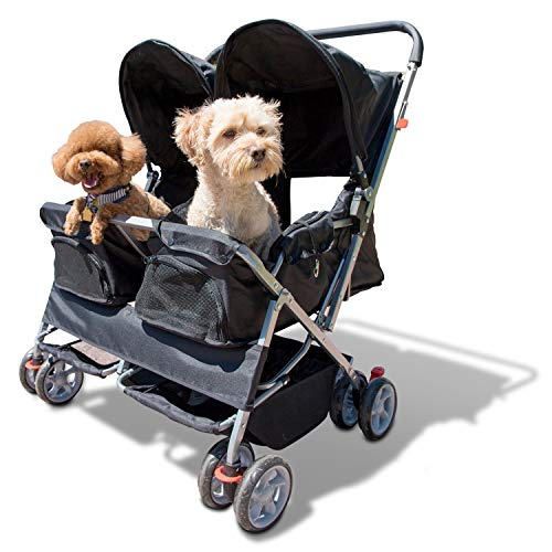 Paws & Pals Double Pet Stroller - 4 Wheels Lightweight Two Puppy