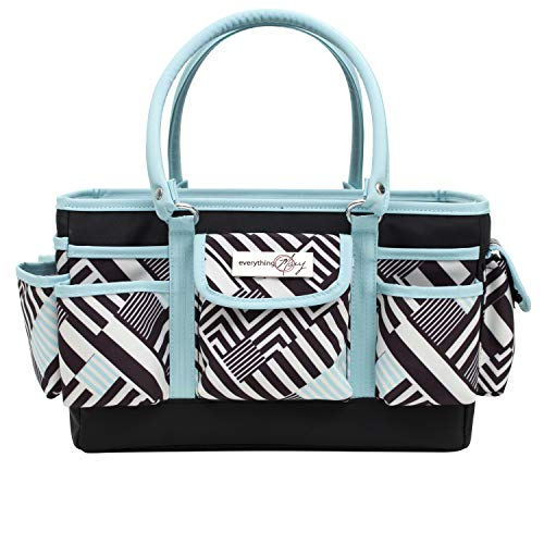 Everything Mary Teal Geometric Deluxe Store and Tote - Storage Craft Bag Organizer for Crafts, Sewing, Paper, Art, Desk, Canvas, Supplies Storage Organization with Handles for Travel
