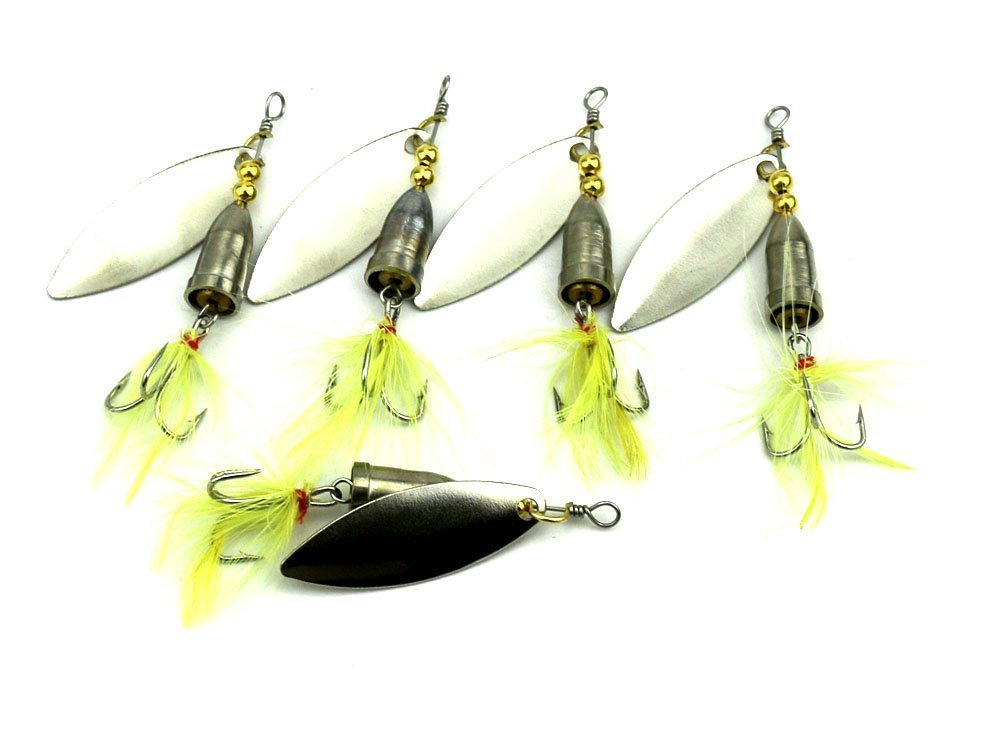 HENGJIA 5pcs//lot Classic Rooster Tail Spinnerbait Lure with Painted Blade Spinner Baits Kit Saltwater//Freshwater for Bass Trout 8cm//3.15//6g