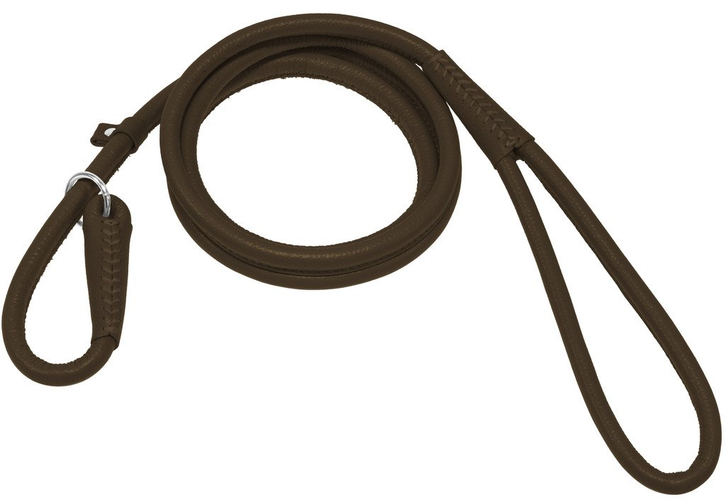 Dogline Soft and Padded Round Leather Slip Lead for Dogs (W 3/8'' L 72'', Dark Brown)