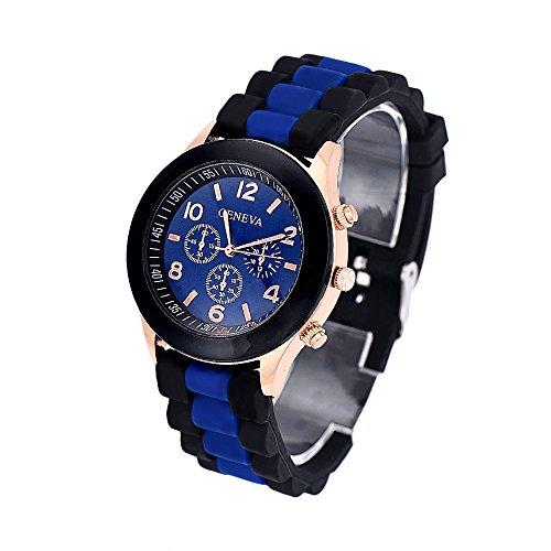 (Colorful Unisex Digital LED Sport Watch,Discountsday Geneva Silicone Jelly Gel Quartz Analog Sports Wrist Watch Waterproof with Alarm Stopwatch Countdow (BU))
