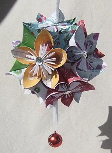 Cheerful Origami Christmas Tree Ornament Large (Kusudama Flowers Christmas)