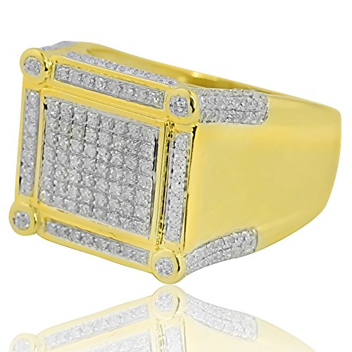 10K yellow Gold Large Mens Fashion Ring with 0.64cttw real Diamonds