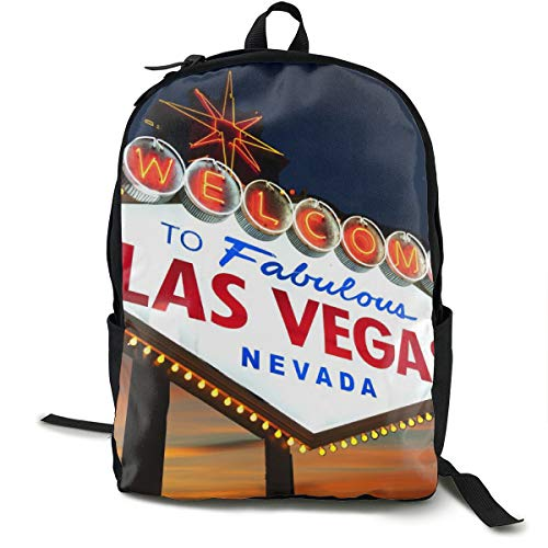 Welcome To The Las Vegas Sign Daypack With Side Pockets, Travel And Sport Backpack Rucksack Large Capacity College School Bookbag Anti-Theft Multipurpose for Girls Boys