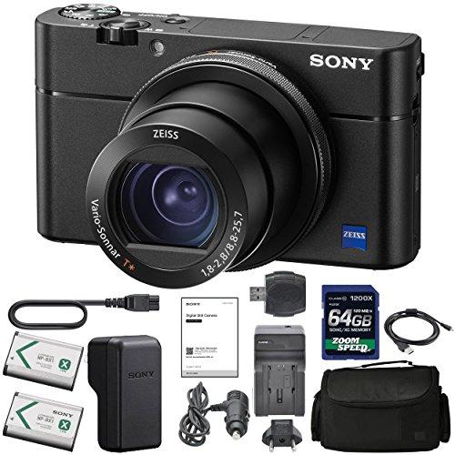 SonyCyber-Shot DSC-RX100 VA DSC-RX100 V(A) Digital Camera + Sony NP-BX1/M8 Battery Spare NP-BX1 Battery, 64gb SDXC 1200x Card, Reader, Case, AC Adapter Bundle Kit - International Version