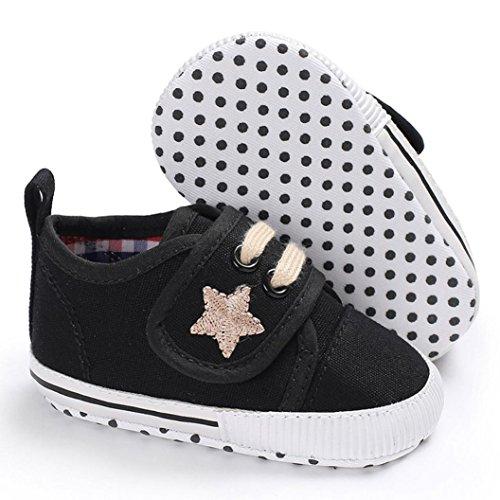Baumwolle Boots Schuhe Jamicy® Neugeborenen Baumwolle Baby Mädchen Jungen Kinderbett Leinwand Schuhe Weiche Sohle rutschfeste Turnschuhe 6 ~ 18 Monate Schwarz