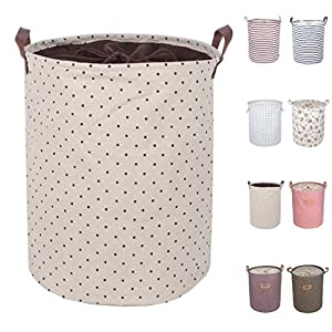 "DOKEHOM DKA0814BNL2 19.7"" Large Laundry Basket (Available 17.7"" and 19.7""), Drawstring Waterproof Round Cotton Linen Collapsible Storage Basket (Brown Dots, L)"