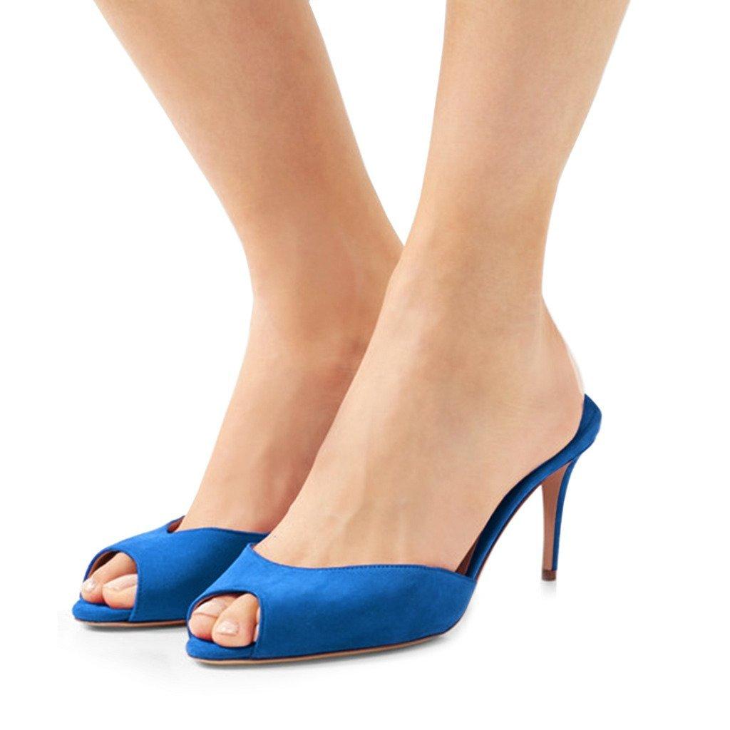 FSJ Women Comfort High Heel Mules Peep Toe Slide Sandals Slip On Dress Pump Shoes Size 7 Royal Blue-10cm