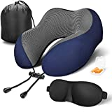 MLVOC Travel Pillow 100% Pure Memory Foam Neck Pillow, Comfortable & Breathable Cover - Machine Washable, Airplane Travel Kit with 3D Sleep Mask, Earplugs, and Luxury Bag, Blue