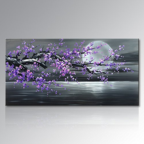Konda Art Framed Handmade Purple Flower Oil Painting On Canvas Abstract Wall Art Artwork For Kitchen Stretched Ready to Hang (Framed 48'' W x 24'' H) by Konda Art
