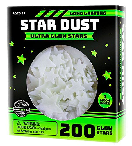 Ultra Brighter Glow in the Dark Stars; Special Deal 200 Count w/ Bonus Moon, Amazing for Children and Toddler Decorations Wall Stickers for Boys! FREE Constellation Guide]()