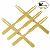 wooden fondue forks - Bamboo Forks, Mini Cocktail Picks, Pastry Fruit Appetizer Dessert Fork for Party, Banquet and Daily Life - 3.9 Inch, Set of 100