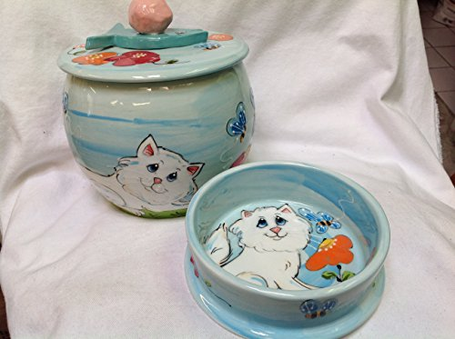 6'' Cat Bowl for Food or Water and Treat Jar. Personalized at no Charge. Signed by Artist, Debby Carman. by Faux Paw Productions, Inc., Laguna Beach, CA