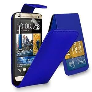 HTC One M8 cuero azul del caso del tirón de la cubierta Pouch + Retractable Stylus Touch Pen + Protector de pantalla y paño de pulido