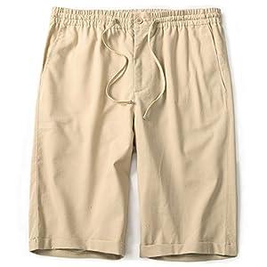 IWOLLENCE Men's Linen Casual Classic Fit Short Summer Beach Shorts