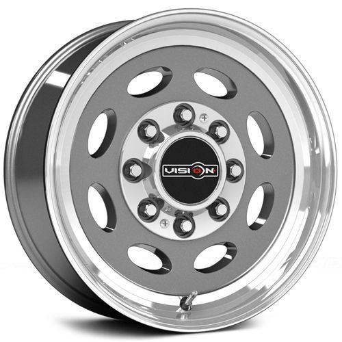 Vision 81 Hauler Gunmetal Machine Lip/No Rivets Wheel Finish (19.5 x 7.5 inches /8 x 165 mm, 0 mm Offset) -