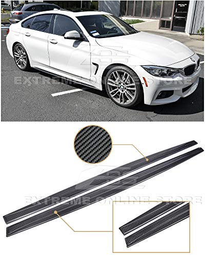 - Extreme Online Store Replacement for 2014-Present BMW F32 F33 F36 4-Series | M-Performance Style Carbon Fiber Rocker Panel Side Skirts Extension Lower Lip