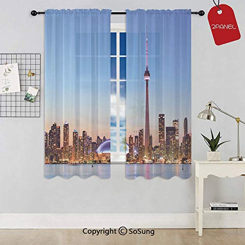 Canadian Skyline Toronto City with Lake Panorama at Evening Urban Scenery Decorative Window Curtain Sheer Voile Panels,for Kids Room,Kitchen,Living Room & Bedroom,2 Panels,Each 32x36 Inch,Light Blue (Toronto Curtains Sheer)