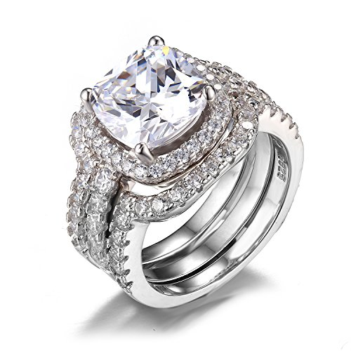 Jewelrypalace Women's 6.87ct Engagement Ring Bridal Set 925 Sterling Silver CZ by JewelryPalace